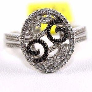 Black & White Diamond Filigree Ring 14k WG .30Ct